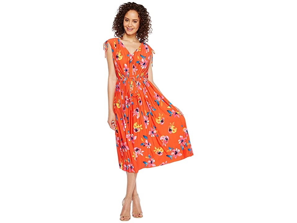 Ellen Tracy Tie Waist Pleat Dress (Floral/Grenadine) Women