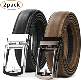 WERFORU 2 Pack Leather Ratchet Dress Belt for Men Perfect Fit Waist Size Up to 44