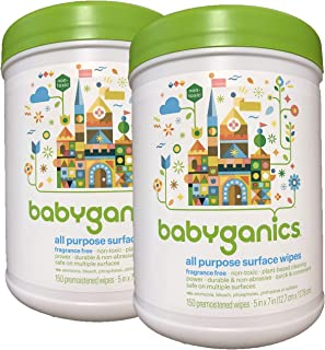 Babyganics All Purpose Surface Wipes, Fragrance Free, 300 Count (Contains Two 150-count canisters)