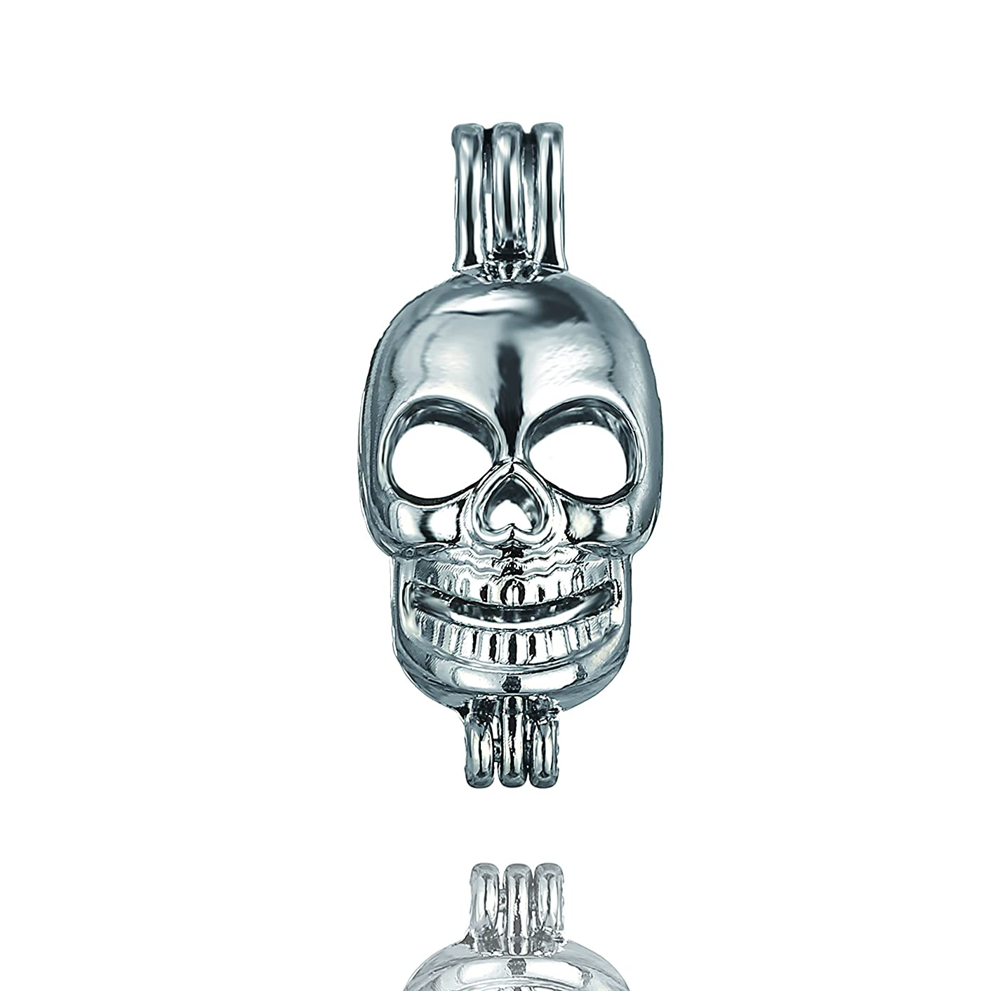 Fantasy 10pcs Halloween Skull Pearl Bead Cage Pendant Essential Oil Scent Diffuser Pendant Necklace Jewelry Making Supplies (Skull)
