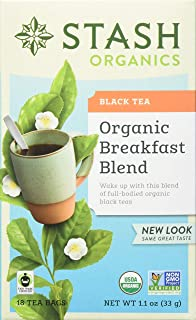Stash Tea Organic Breakfast Blend Black Tea 18 Count Tea Bags in Foil (Pack of 6) Individual Black Tea Bags for Use in Teapots Mugs or Cups, Brew Hot Tea or Iced Tea, Fair Trade Certified