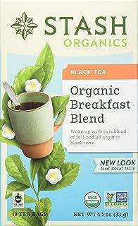 Stash Tea Organic Breakfast Blend Black Tea 18 Count Tea Bags in Foil (Pack of 6) Individual Black Tea Bags for Use in Teapots Mugs or Cups, Brew Hot Tea or Iced Tea, Fair Trade Certified