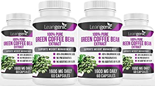 Leangenic Green Coffee Bean Extract for Weight Loss 60 Capsules 800 mg (4 Bottles)