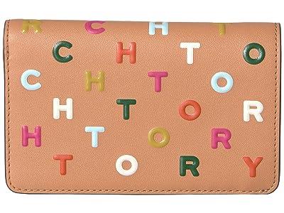 Tory Burch Letters Printed Medium Slim Wallet (Dark Vachetta) Wallet Handbags