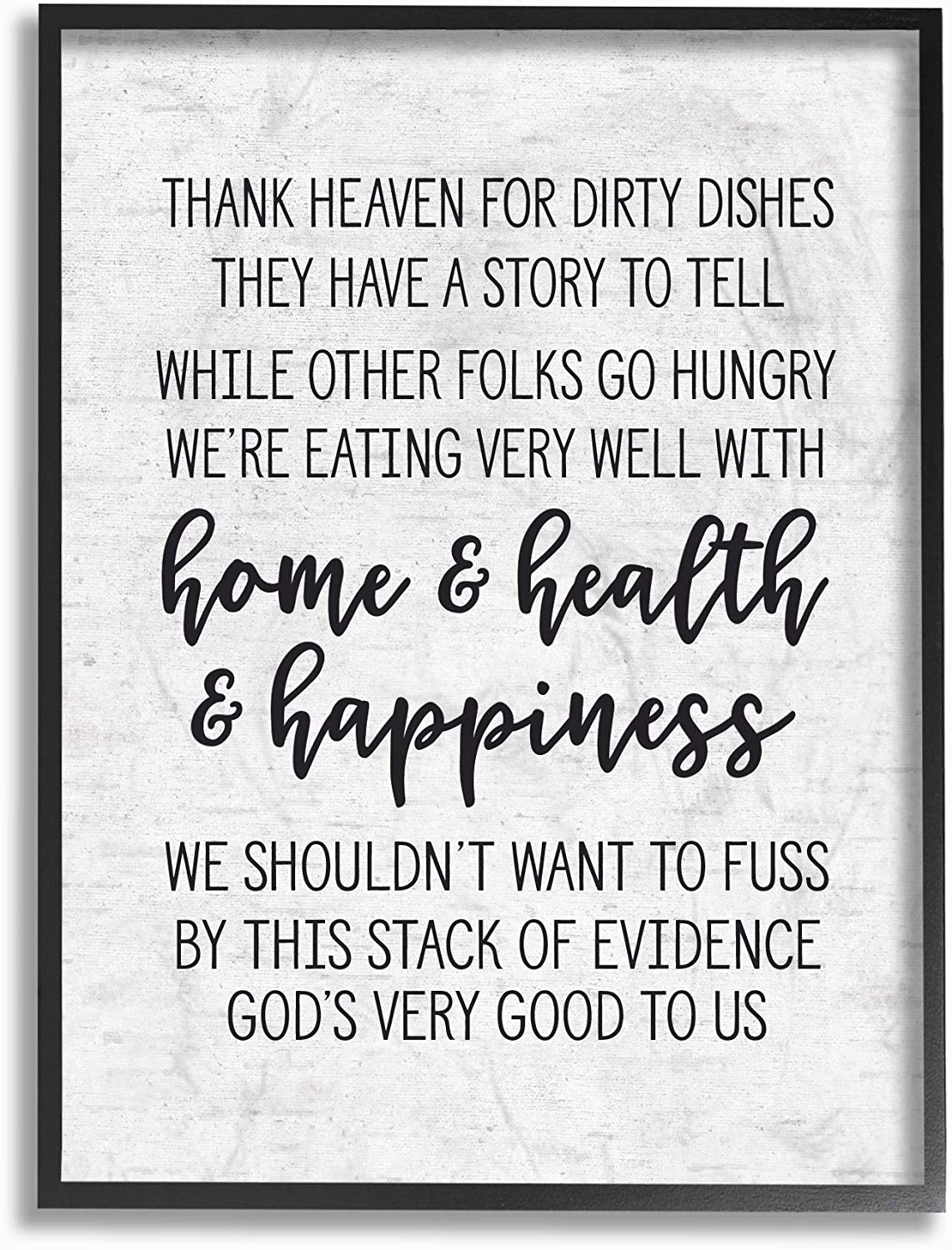 Stupell Industries Home Health Happiness Subtle Birch Typography Framed Giclee Texturized Art, Multi-color