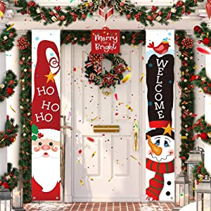 3 Pieces Christmas Banner Decorations, Red Welcome Merry Christmas Porch Sign Merry and Bright Santa Claus Snowman Door Banner Hanging Decor for Winter Christmas Holiday Theme Party Supplies