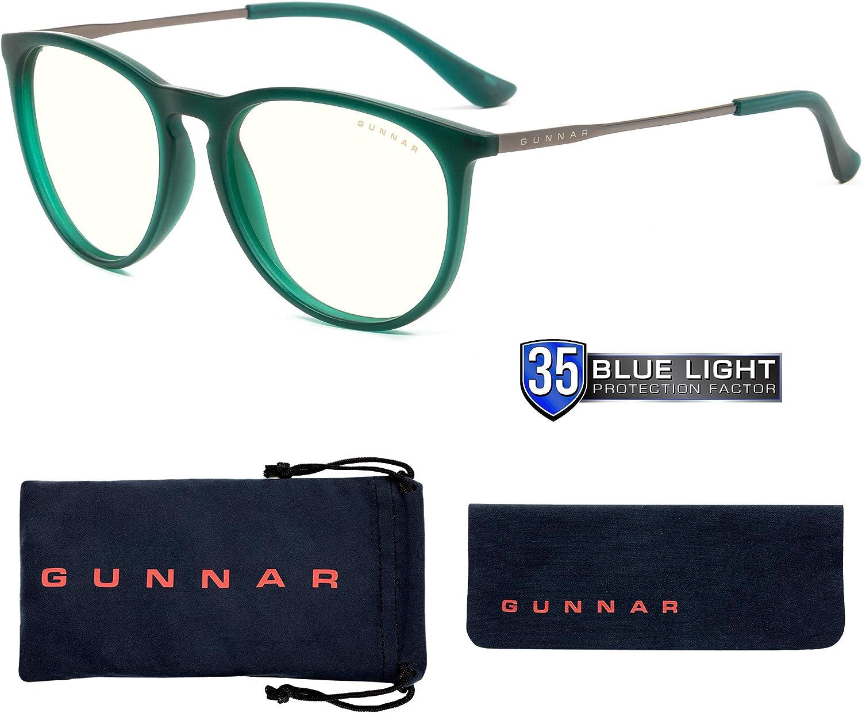 GUNNAR - Gaming and Computer Glasses - Blocks 35% Blue Light - Menlo, Emerald, Clear Tint