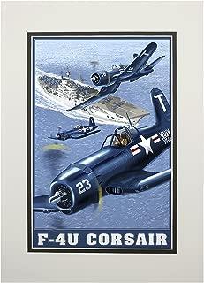 F-4U Corsair (11x14 Double-Matted Art Print, Wall Decor Ready to Frame)