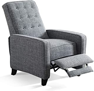 ANJ Contemporary Push Back Recliner with Delicate Buttons Thickness Cushion, Gray