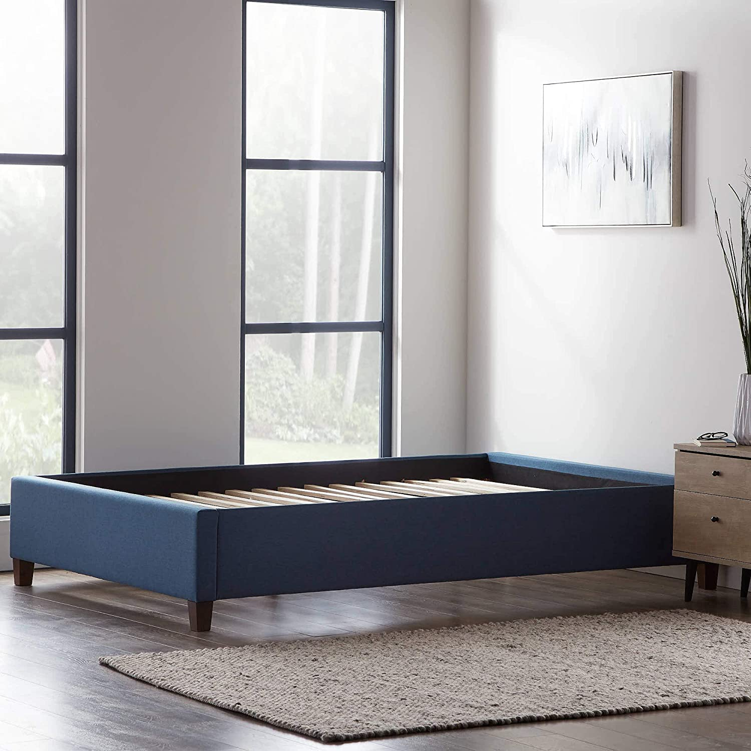 LUCID Upholstered Bed with Some reservation Slats – Quality inspection No Inspired Linen Bo Fabric