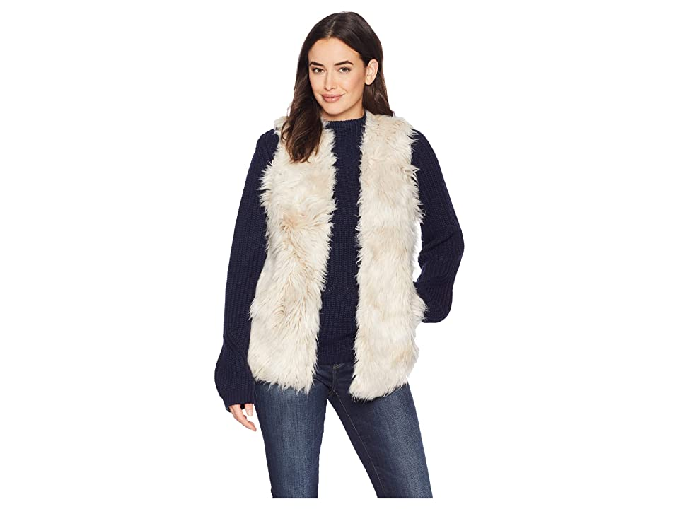 Dylan by True Grit Melange Long Fur Vest with Heather Knit Lining (Natural) Women