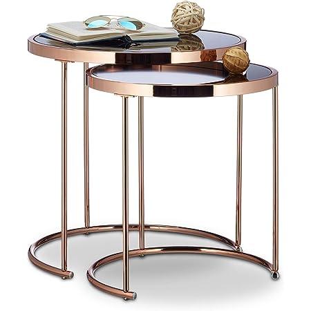 Relaxdays d'appoint Ronde Console Table Basse Plateau Verre Noir Lot de 2, cuivre, Acier, Transparent, 51 x 50 x 50 cm