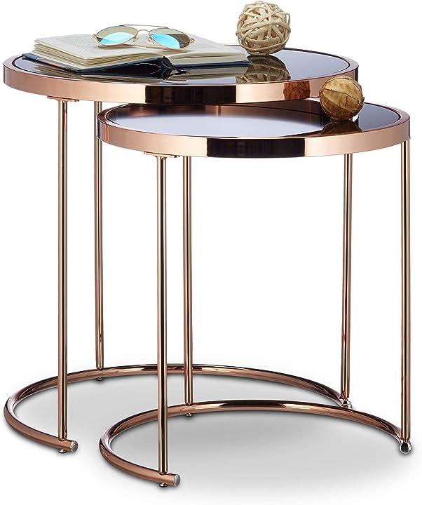 Set da 2 tavolini da salotto rotondi tavoli sovrapponibili soggiorno design moderno relaxdays 50 x 50 x 51cm 10021281