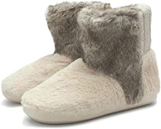 938cbe41cc47c KuaiLu Fluffy Faux Fur Slipper Boots Women Soft Cozy Memory Foam Midcalf  Booties Indoor House Pull
