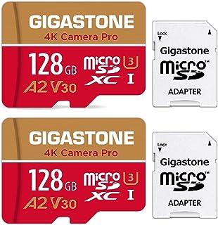 【5年保証】Gigastone Micro SD Card 128GB マイクロSDカード A1 V30 2 Pack 2個セット 2 SD アダプタ付き w/adaptor UHD 4K ビデオ録画 高速 4Kゲーム 95MB/s マイクロ ...