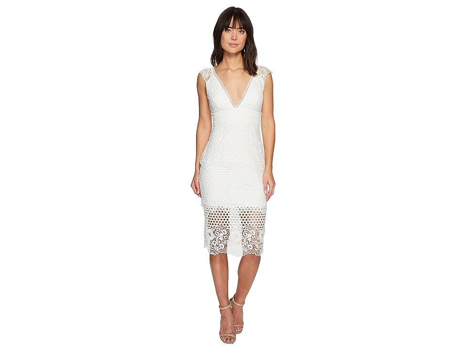 Laundry by Shelli Segal V-Neck Venise Dress with Trim Detail (Marshmallow) Women