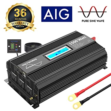 VOLTWORKS 1500W Pure Sine Wave Power Inverter DC 12v to AC 110v-120v with 4.8A Dual USB Ports 3 AC Outlets and Remote Control LCD Display for Home RV Truck