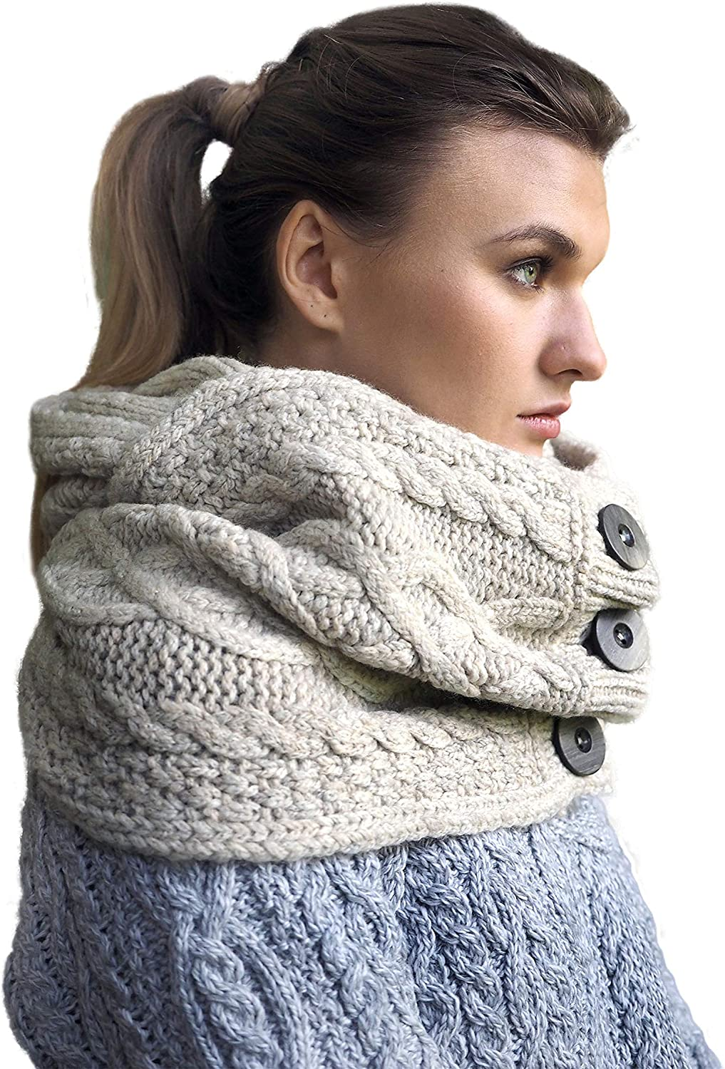 100% Merino Wool Super Soft Irish Snood Scarf