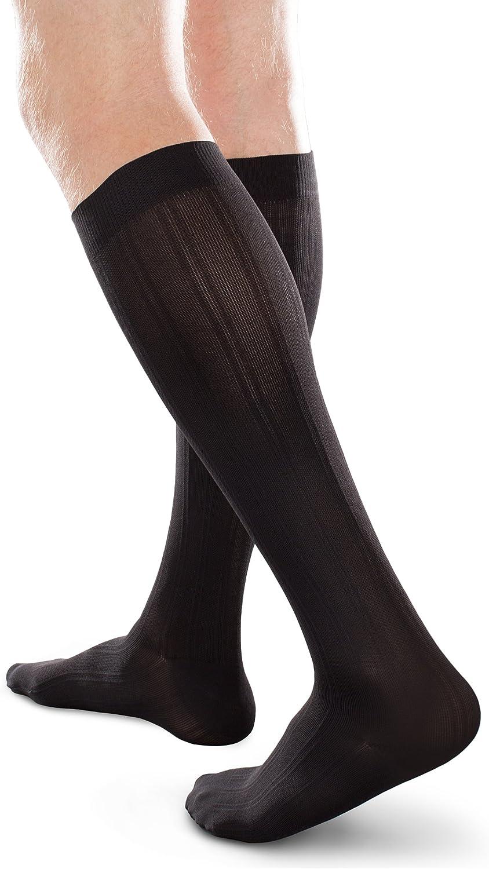 Ease Opaque Women's Mild 1520mmHg Compression Chevron Trouser Socks (Black, Large Long)