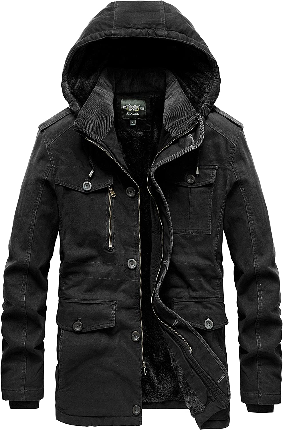 JYG Men's Winter Thicken Military Parka Jacket With Removable Hood
