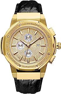 JBW Men's 10-Year Anniversary Saxon 0.16 ctw Diamond Wrist Watch with Leather Bracelet