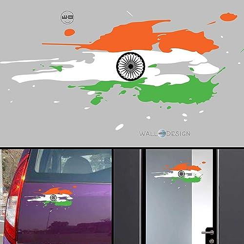 WallDesign Vinyl Indian Flag Wall Tile Car Sticker, 0.01 x 12 x 5 Inches, Multicolour