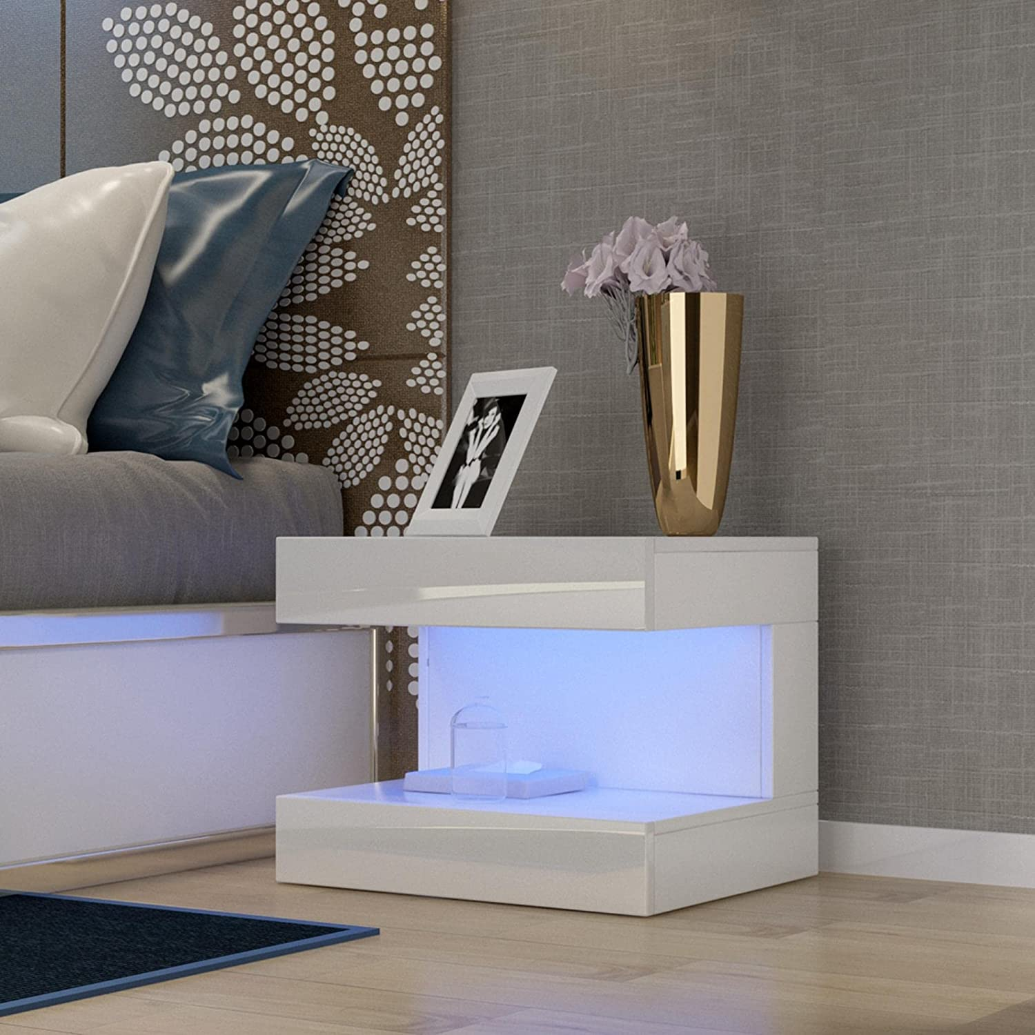 Decsix White High Gloss Nightstand Table Max OFFicial site 55% OFF Modern Nightsta Beside