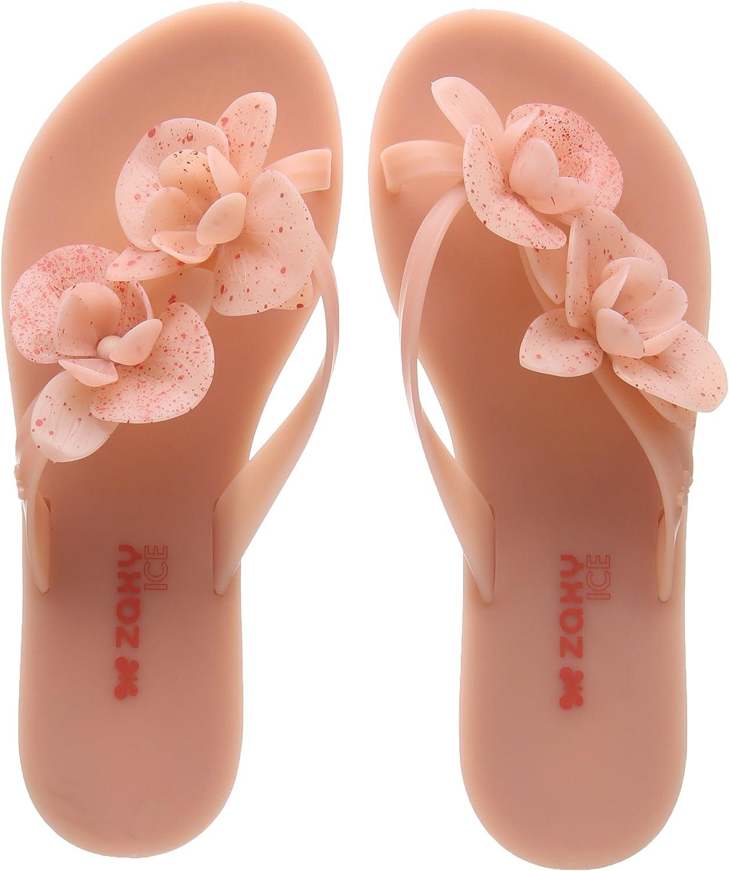 Zaxy Womens bluesh Pink Ice Flower Flip Flops