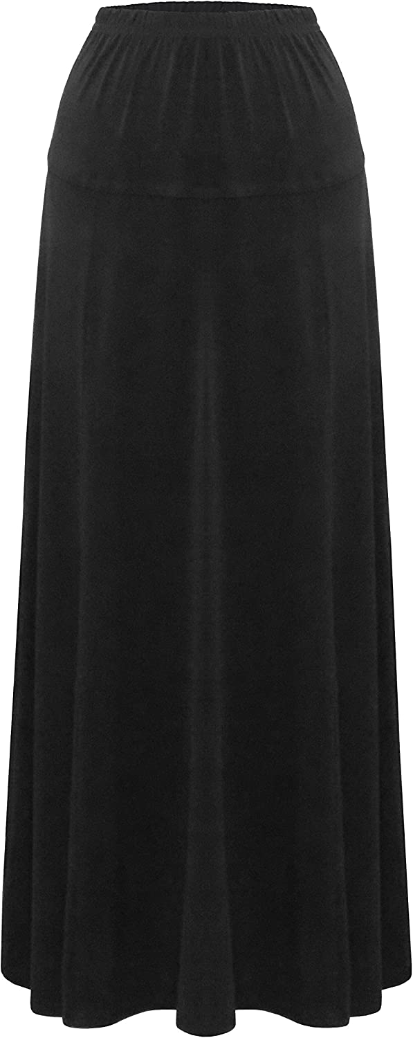 Baby'O Women's Stretch Knit Fit and Flare ALine 36  Maxi Length Skirt