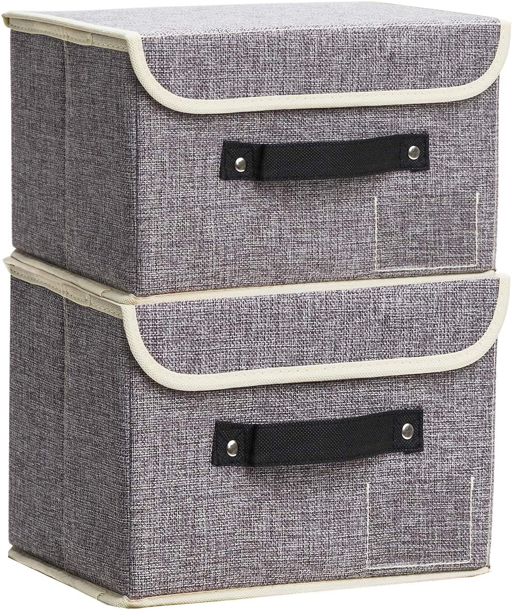 Small Storage Bins with Lids 2 Pack Linen Collapsible Cube Storage Basket with Handle, Jane's Home Foldable Fabric Storage Box with lids Organizer for Toys, Clothes Closet, Ornament Grey