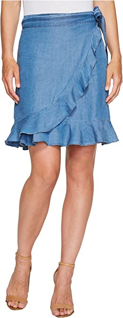 Denim Tencel Faux Wrap Skirt