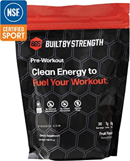 BuiltByStrength Pre Workout Powder Supplement – NSF Certified Fruit Punch Energy Boost for Endurance and Muscle Growth – Contains Creatine and Caffeine – Great Taste that Dissolves Completely in Water