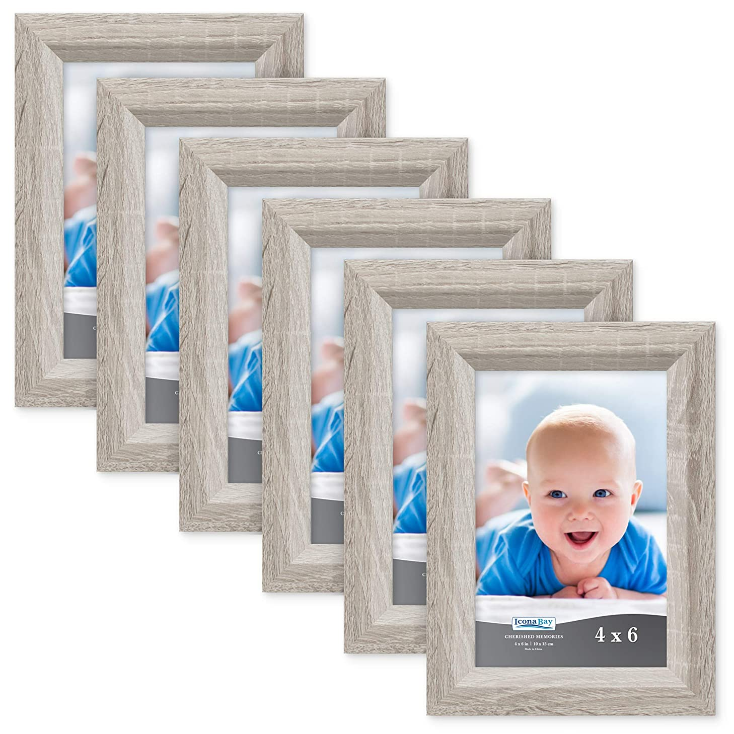 Icona Bay 4x6 Picture Frame (6 Pack, Heritage Gray Wood Finish), Gray Photo Frame 4 x 6, Composite Wood Frame for Walls or Tables, Set of 6 Cherished Memories Collection