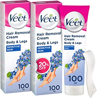 Veet Hair Removal Cream Sensitive Skin 100ml Twin Pack