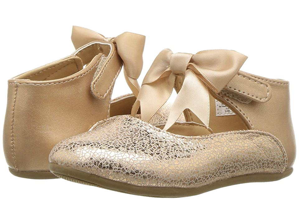 Baby Deer First Steps Metallic Mary Jane with Bow (Infant/Toddler) (Rose Gold) Girl