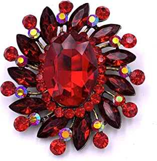 SELOVO Marquise Color Large Red Brooch Pin Flower Accessory Antique Gold Tone