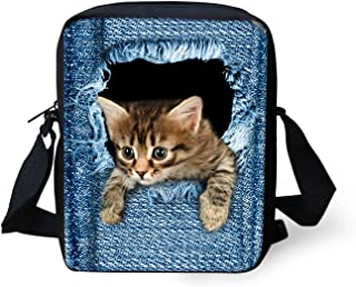 Cute Denim Cat Printed Cross Body Bags for Women Small Handbags Schoolbag