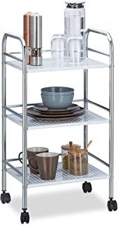 Relaxdays Chariot à roulettes en métal avec 3 étages desserte de cuisine poignées bureau HxlxP: 75 x 40,5 x 31 cm, blanc