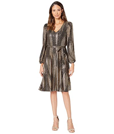 Calvin Klein Balloon Long Sleeve Belted Gold Foil Knit A-Line Dress (Black/Gold) Women