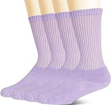 +MD niet-bindende bamboe diabetische sokken voor dames, 4-pack, circulerende ronde kussensokken Lila