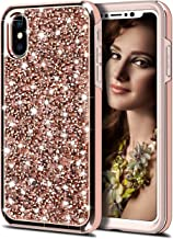 HoneyAKE Case for iPhone Xs Case iPhone X Case Bling Rhinestone Diamond Sparkly Crystal Dual Layer Handmade Shockproof Soft Rubber Bumper Hard PC Hybrid Protective Cover for iPhone Xs X, Champagne