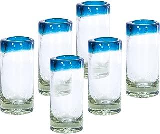 MEXART Artisan Crafted Hand Blown Aqua Marina Rim Recycled Glass Shots Glasses,- Whisky, Vodka, Tequila Shots 2 oz. 'Classic' (set of 6)