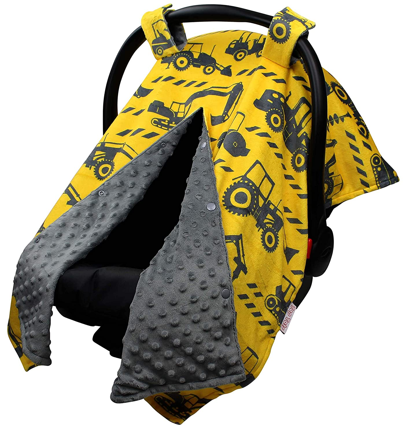 Baby Limited price sale Car Seat Canopy Cover - Yellow Tractors M Indefinitely on Grey with