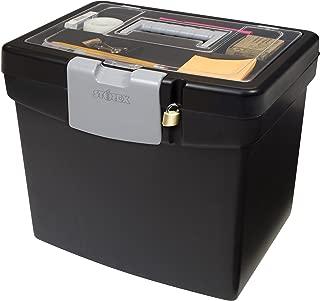 Storex Portable File Box, 10.88 x 13.25 x 11 Inches, Black (STX61504U01C)
