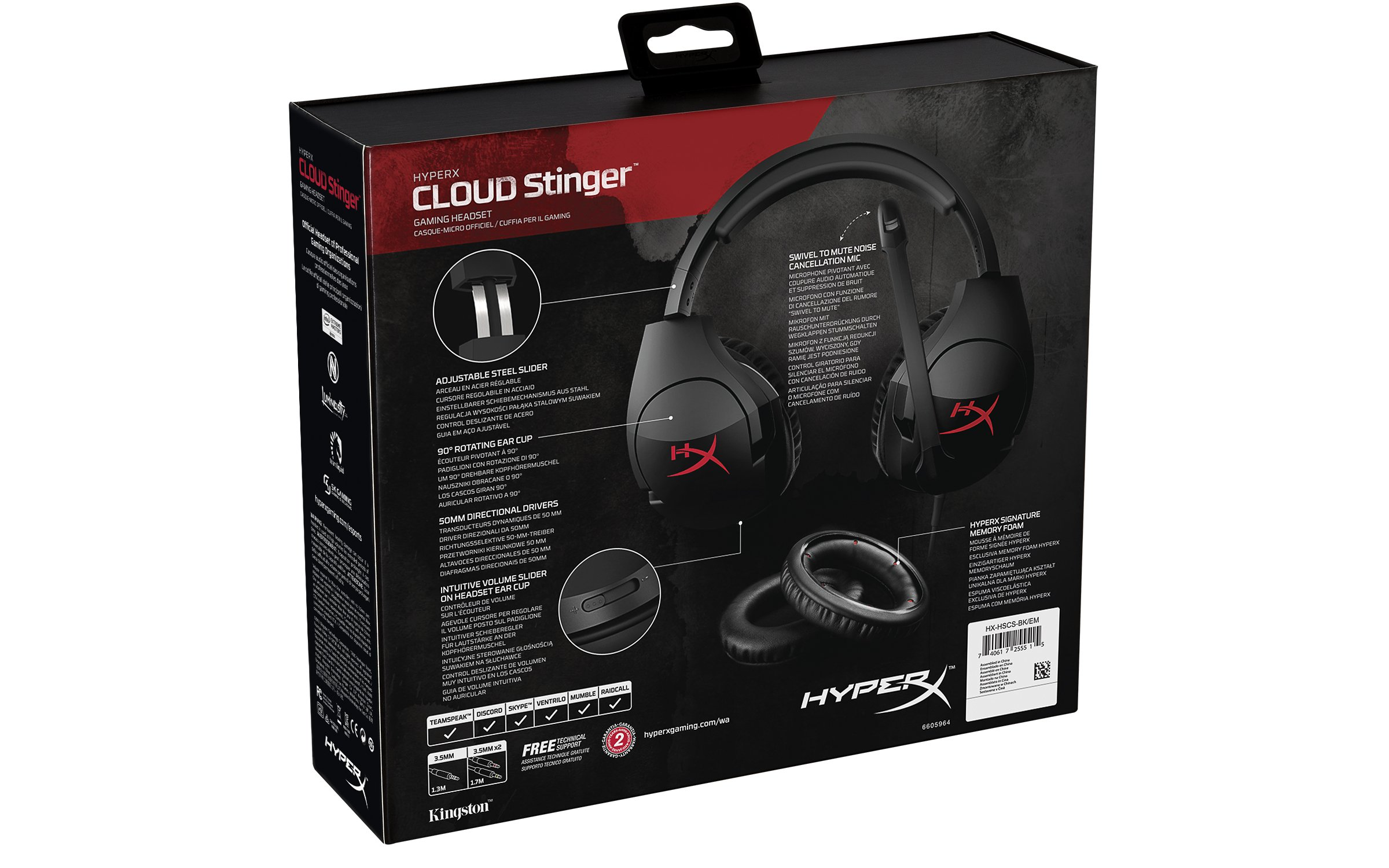 HyperX Cloud Stinger Headphone Gaming Headset With Mic For PC PS4 Xbox one, Kingston, 10 x 20 x 10 cm, Black