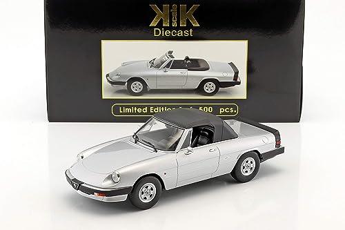 KK-Scale Alfa Romeo Spider 3 Serie 2 mit abnehmbarem Softtop Baujahr 1986 Silber 1 18