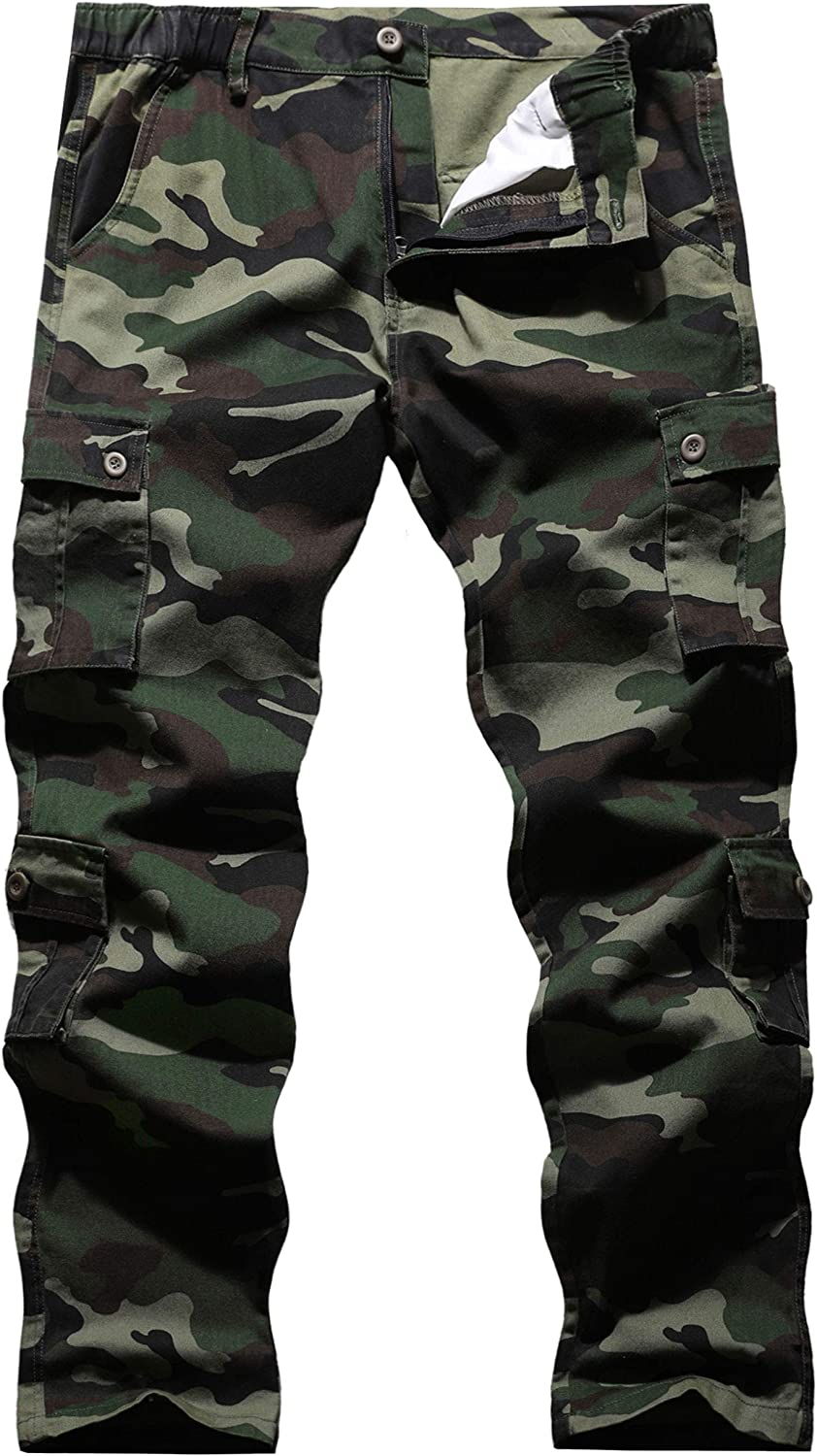 BOJIN Men's Cargo Pants Casual Military Army Camo Relaxed Fit Cotton Combat Camouflage Cargo Work Pants with 8 Pockets