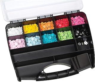 Prym 393900Maletín Botones fáciles sin Costuras 300Piezas + Herramientas de plástico 2x 1x 1cm, Multicolor