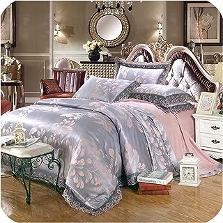 wechat store 4pcs Green Jacquard Silk Bedding Set Queen King Satin Quilt/Duvet/Comforter Cover Bed Linen Bedclothes Set Home Textile,23,Queen 4pcs