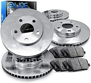 For 2010-2014 Toyota FJ Cruiser R1 Concepts eLine Front Rear Plain Brake Rotors Kit + Semi-Met Pads